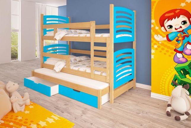 Piętrowe łóżko Olek dla trojki dzieci! Wysuwane dolne spanie