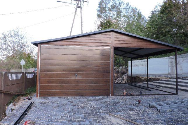Garaż 3x5m z wiatą kolor złoty dąb