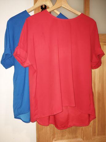 Bluzki w kolorze czerwieni i chabru