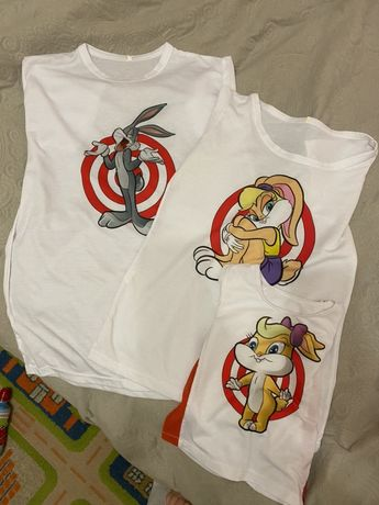 Family look футболки looney tunes для фотосессии мама дочка папа