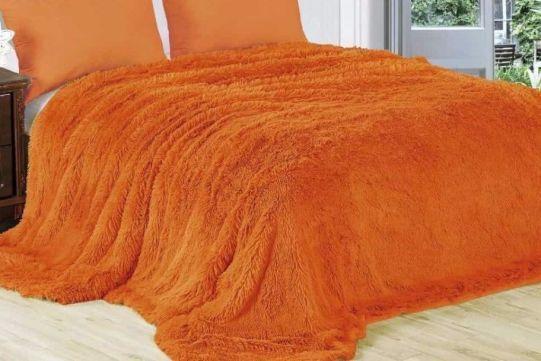 Мех для накрытия кровати, кресел. Болгария. Сочный апельсин !! 1,4х4.3