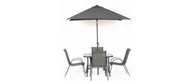 Ekskluzywny stolik ogrodowy z regulowanym parasolem