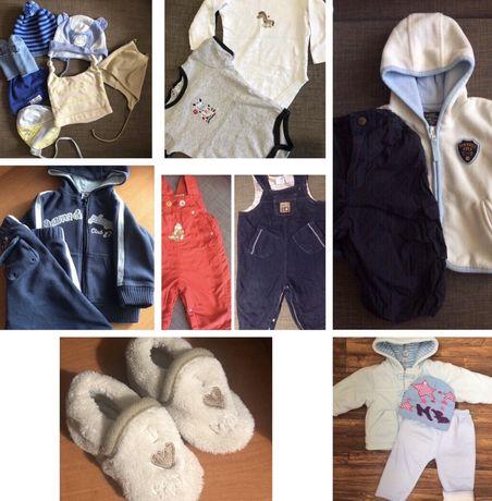 Куртка шапки костюм пинетки штаны пакет вещей памперсы тусики 62-74 р