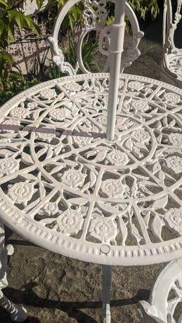 Zestaw ogrodowy metalowy nierdzewny biały, 4 krzesła + stół