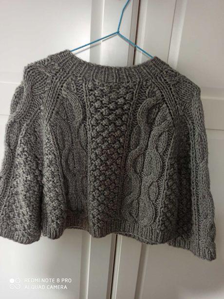 Sweterek, bolerko, gruby scieg, kolor popiel