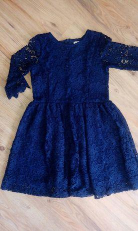 Sukienka x2 koronkowa,panterka 152,granatowa komunia,wesele zara,h&m