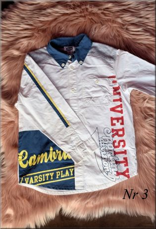 Koszula chłopięca z długim rękawem, biała z napisami, Rozmiar 116