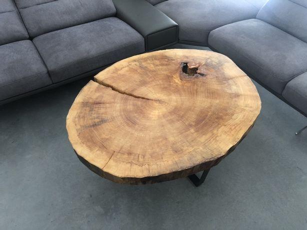 Stół stolik kawowy z pnia plastra drewna drzewa topoli topola 115x92 m