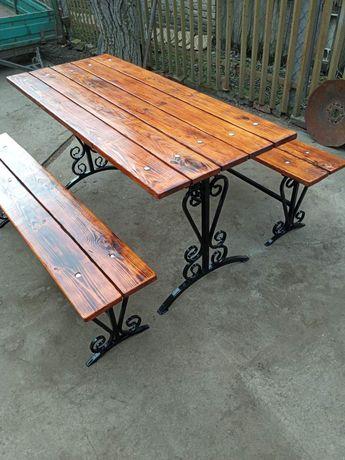 Стол скамейки лавочки мангал с элементами ковки