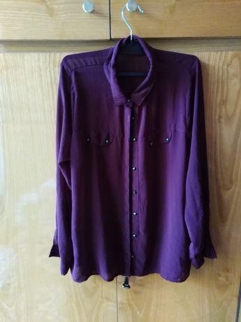Bordowa bluzka koszulowa F&F