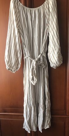 Nowa suknia HM maxi długa suknia beżowa w paseczki paski S/M okazja