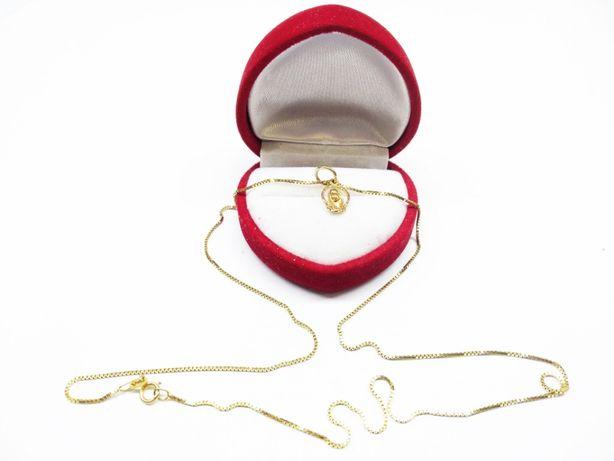Złoty łańcuszek o splocie kostka z medalikiem Matki Boskiej p.585 2,80