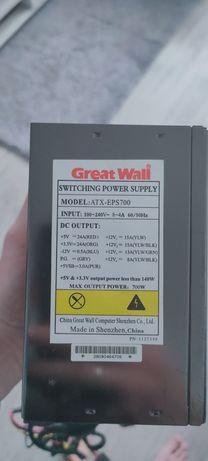 Блок питания Great wall 700 w (Вт) 4,8 pin + 8 +6 pin pci (видеокарта)