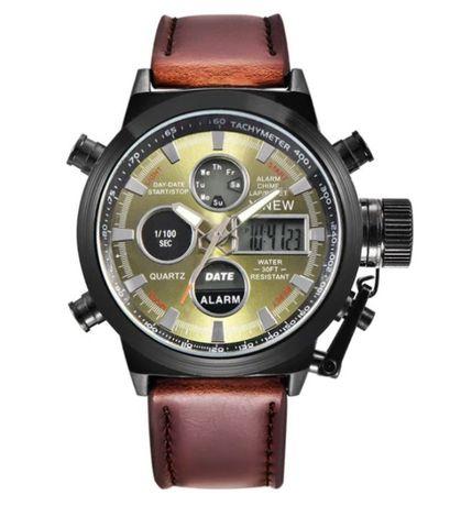 Zegarek Xinew, gruby pasek ze skóry, podświetlanie, super jakość! HIT!