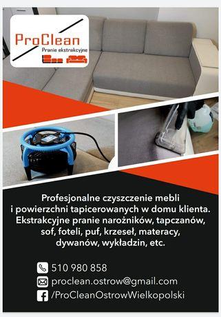 Pranie czyszczenie tapicerki meblowej w domu klienta- ProClean Ostrów