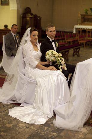 Suknia ślubna, welon hiszpański, bolerko