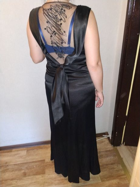 Suknia sukienka czarna wieczorowa sylwestrowa na wesele maxi 40 długa