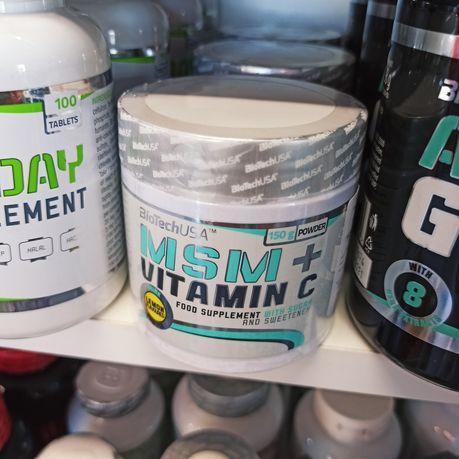 Biotech MSM+Vitamin C 150g, Ochrona Stawów MSM+Witamina C, Odżywki
