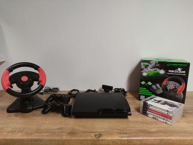 PlayStation 3 320 GB Zestaw 2x pad+kierownica nowa,kamera