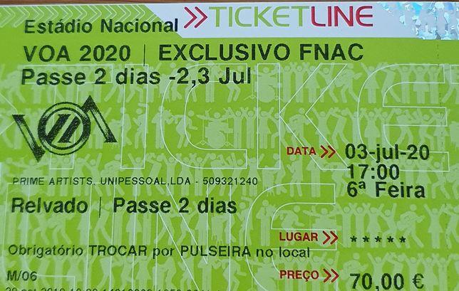 Passe 2 dias VOA - 2 bilhetes - 70€ cada