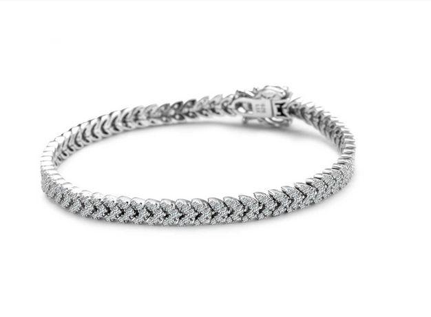 Prześliczna bransoletka srebrna z cyrkoniami