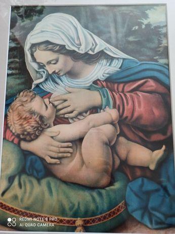 Matka Boska karmiąca - obraz oprawiony