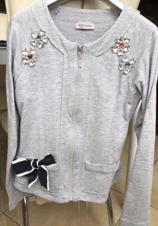 Monalisa серый итальянскмй пиджак- кофточка для школы на девочку 7/9 л