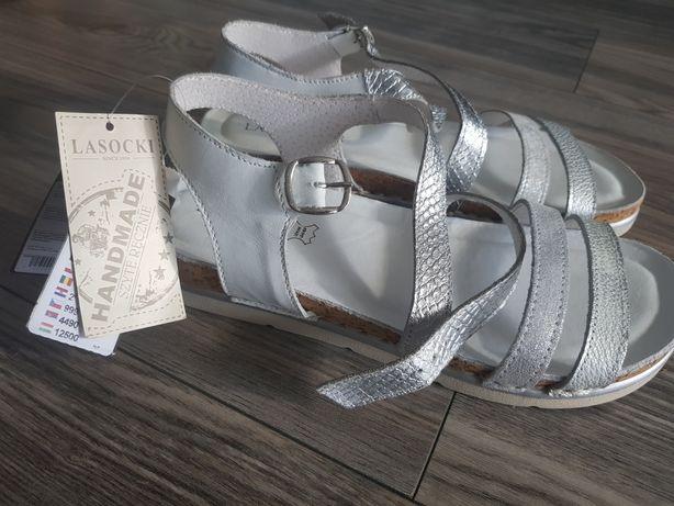 Sprzedam szybko  Nowe sandały lasocki skóra szyte piękne