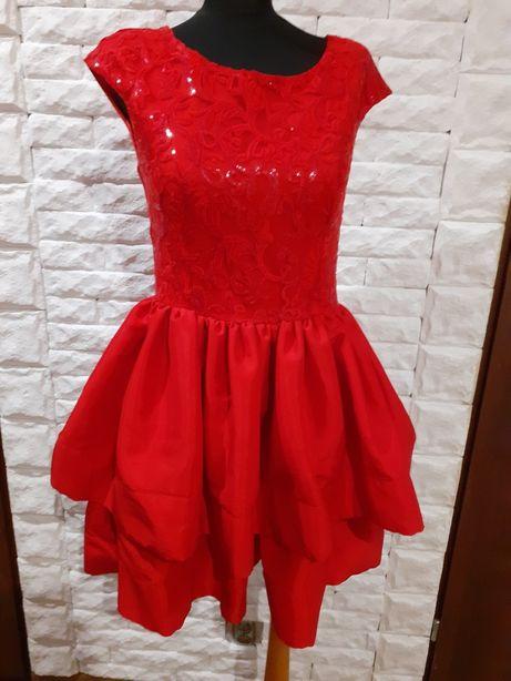 Sukienka wesele balowa czerwona M/38