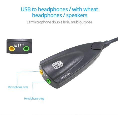 Зовнішня звукова карта з кабелем USB 3,5 мм