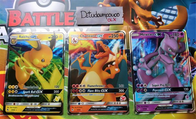 Cartas Pokémon (Charizard GX, Raichu GX, Mewtwo GX + outras) ORIGINAIS