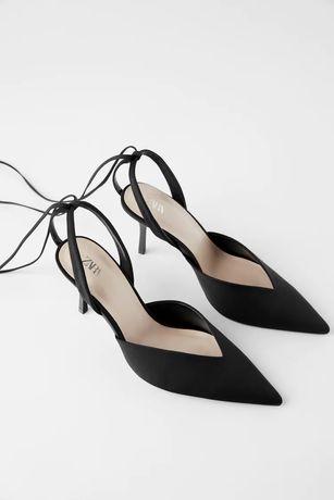 Szpilki buty Zara 40 satynowe wiązane