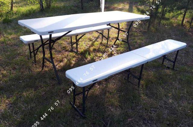 КОМПЛЕКТ! Стол складной + 2 лавки 180х76 Lifetime,стіл складний мебель