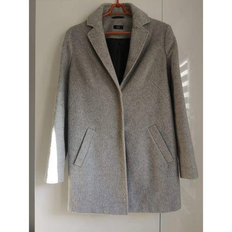 Szary melanżowy płaszcz jesień zima