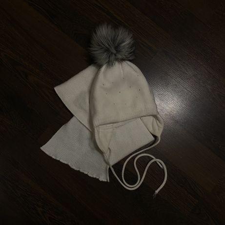 Белый зимний набор зимняя шапка и шарфик zara hm