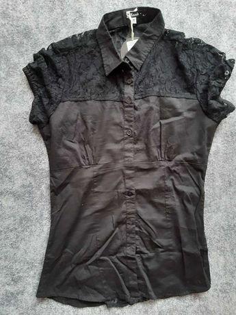 Koszulka czarna koronka odcinana S M ozdobne plecy