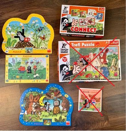 Puzzle Krecik zestaw firm Trefl i Dino