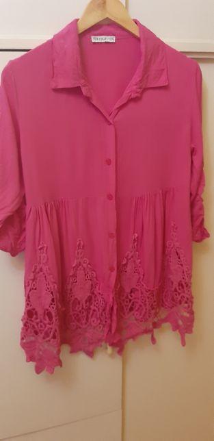 Piękna koszula z haftem/koronką róż 42/44