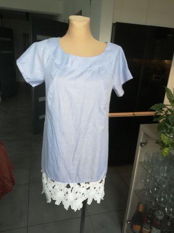 R. M błękitna sukienka koszulowa