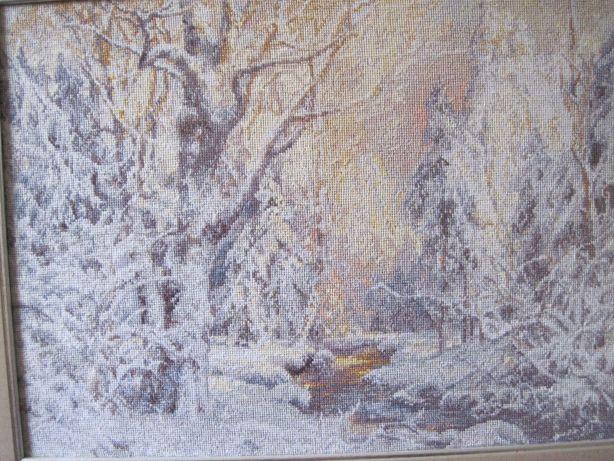 """Вышивка крестом, картина """"Зима"""" 54х43 (см)"""