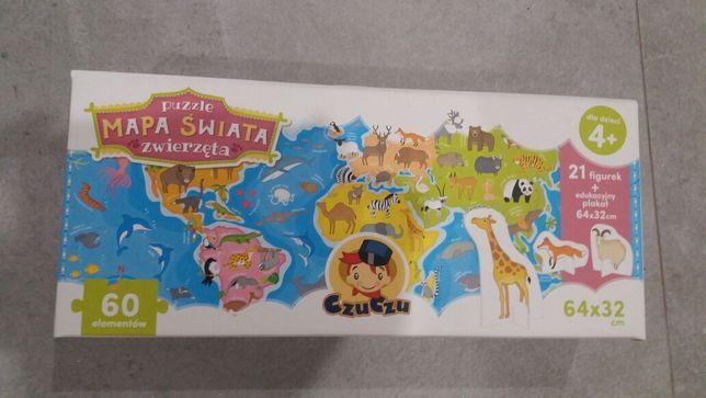 NOWE czuczu puzzle i figurki - mapa świata zwierzęta 4+