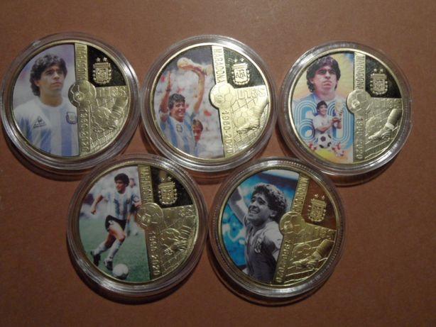 Diego Maradona pozłacane pamiątkowe monety medale piłka nożna zestaw