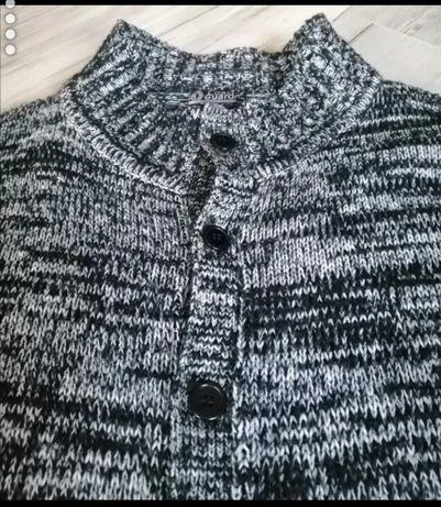 Wełniany męski sweter XL XXL zapinany na guziki