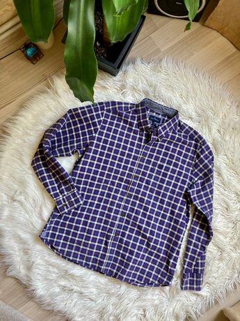 Мужская клетчатая рубашка blue harbour сток фиолетовая