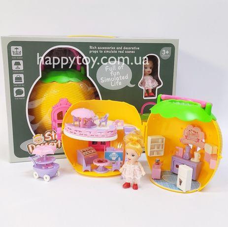 Игровой набор дом домик сумочка с куклой и аксессуарами