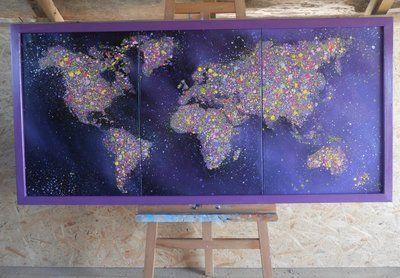 Большая комбинированная картина Карта 150х70 на холсте Дерево рама