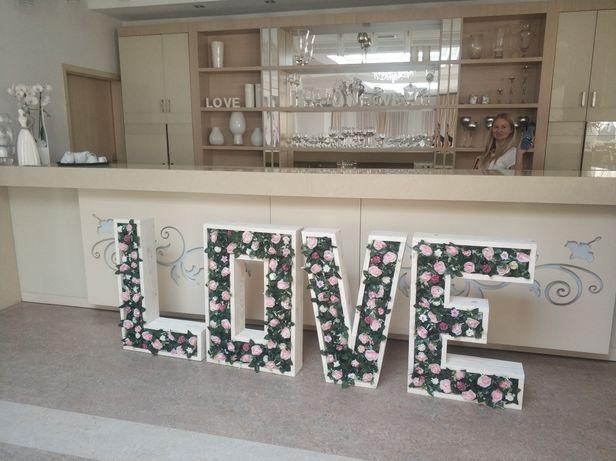 Napis Love , dekoracja, wesele ,nowoczesny