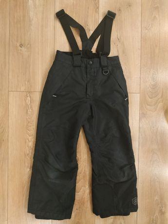 Czarne spodnie narciarskie ocieplane zimowe rozmiar 110/116