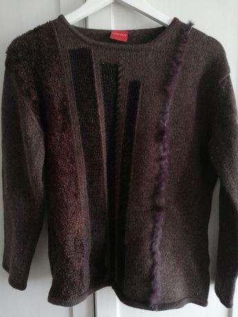 Swetr Sweter wełniany brązowy Olsen 40 42 L XL