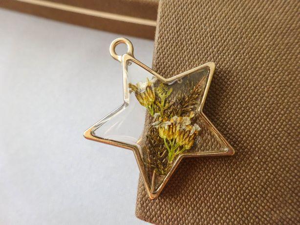Wisior naszyjnik kwiaty wisiorek gwiazdka wykonane ręcznie